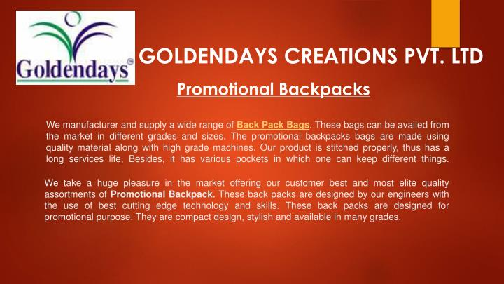 GOLDENDAYS CREATIONS PVT. LTD
