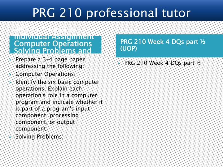 PRG 210 Week 3 Individual Assignment  Computer Operations Solving Problems and Algorithms (UOP)