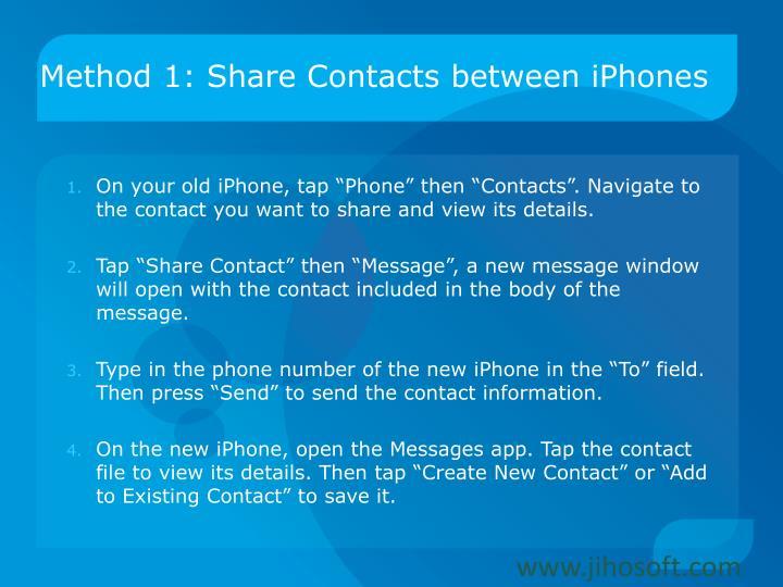 Method 1: Share Contacts between iPhones