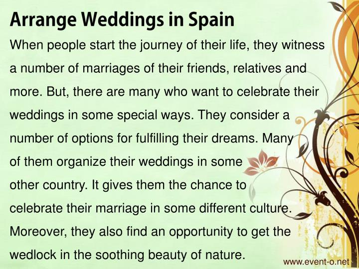 Arrange Weddings in Spain