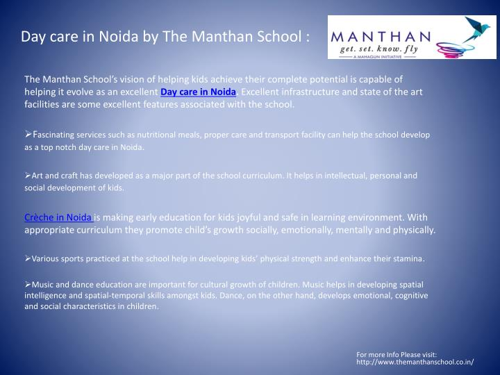 Day care in noida by the manthan school