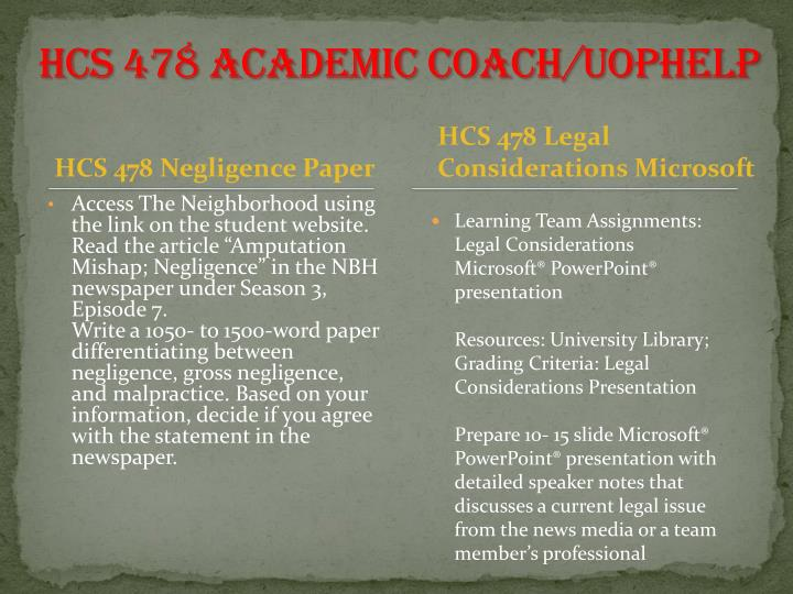 HCS 478 Academic Coach/