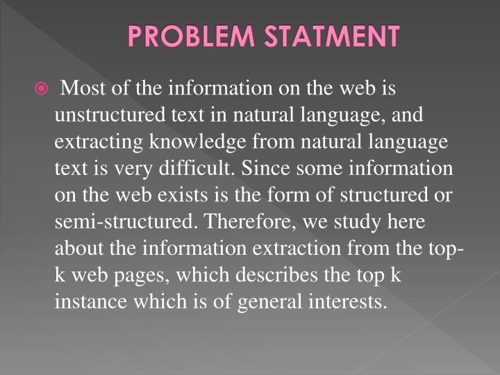 PROBLEM STATMENT