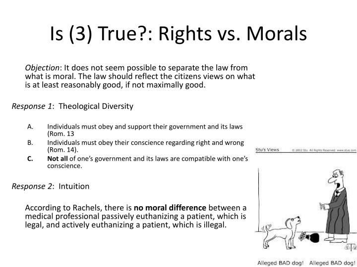 Is (3) True?: Rights vs. Morals