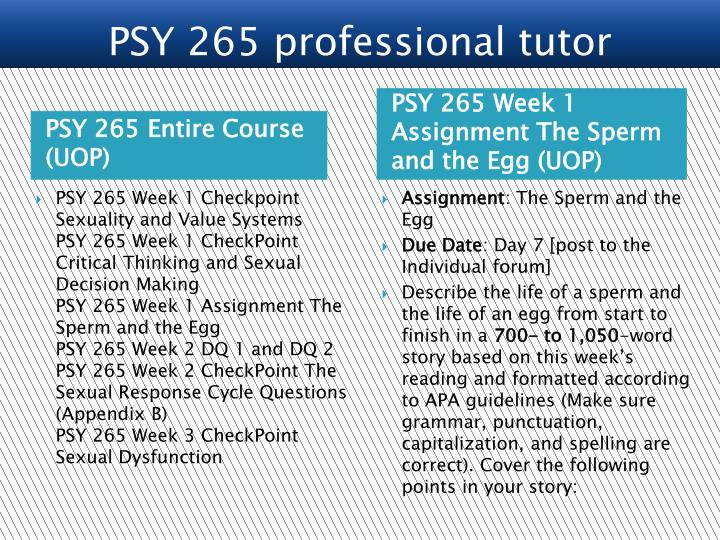 PSY 265 Entire Course (UOP)
