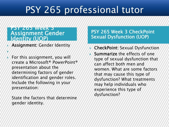 PSY 265 Week 3 Assignment Gender Identity (UOP)
