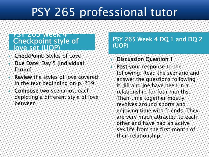 PSY 265 Week 4 Checkpoint style of love set (UOP)