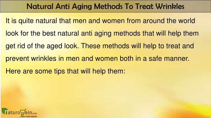 Natural Anti Aging Methods To