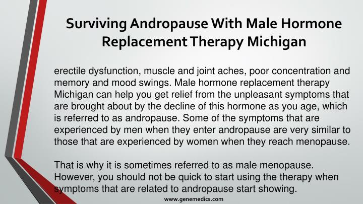 Surviving andropause with male hormone replacement therapy michigan2