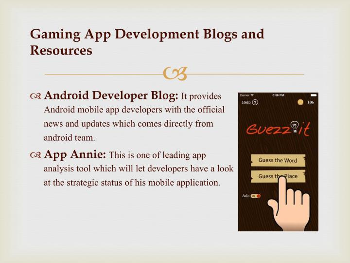 G aming app development blogs and resources
