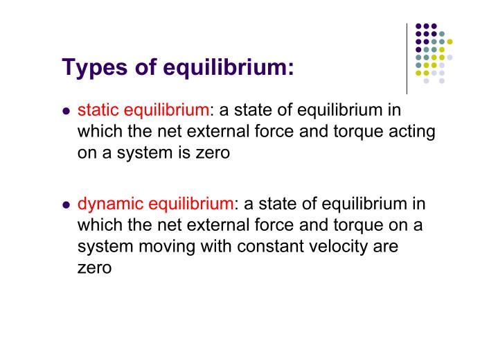 Types of equilibrium: