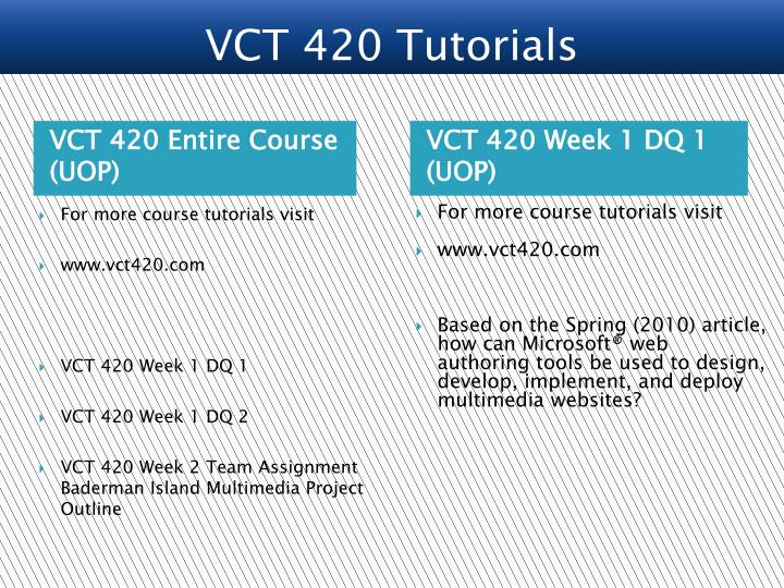 VCT 420 Entire Course (UOP)