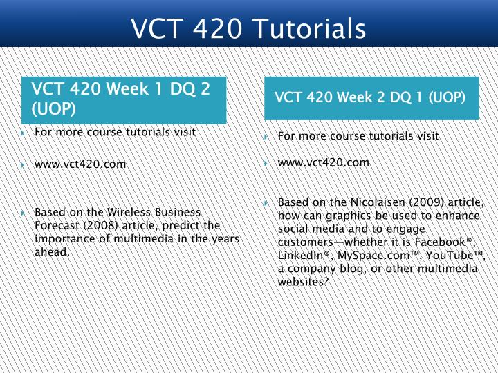 VCT 420 Week 1 DQ 2 (UOP)
