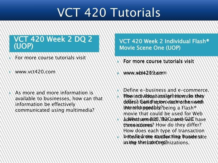 VCT 420 Week 2 DQ 2 (UOP)