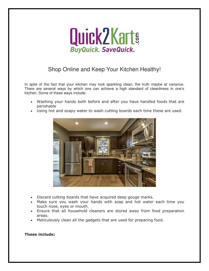 Shop Online and Keep Your Kitchen Healthy!
