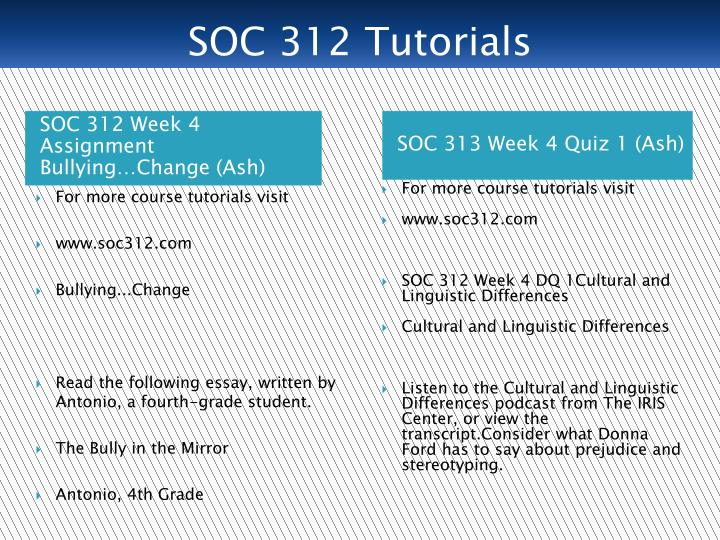 SOC 312 Tutorials