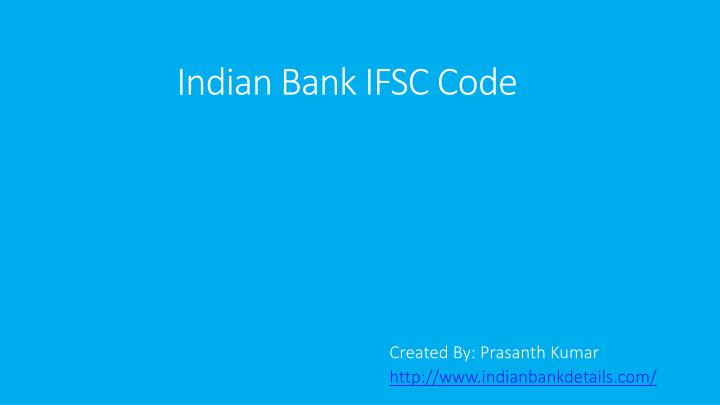 Indian bank ifsc code