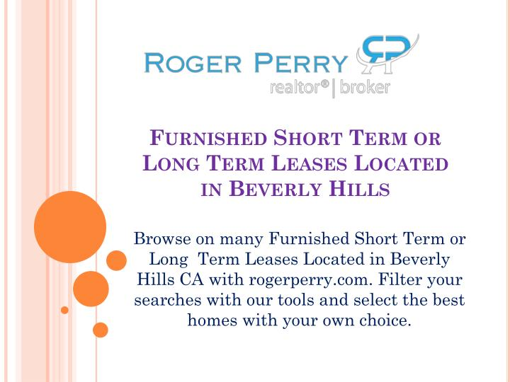 furnished short term or long term leases located in beverly hills