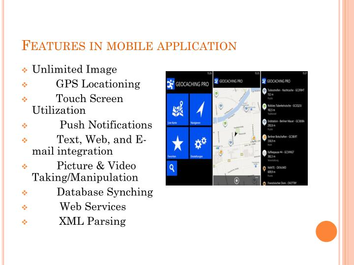 Features in mobile application