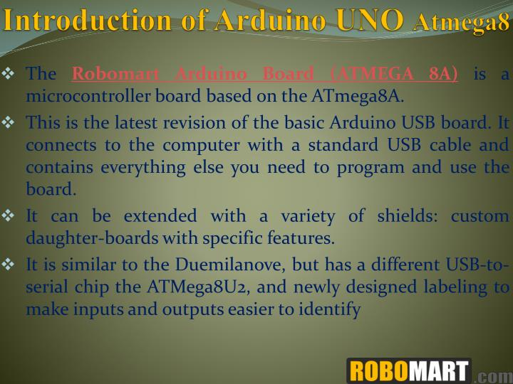 Ppt arduino uno atmega by robomart powerpoint