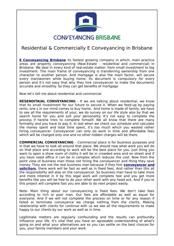 Residential & Commercially E Conveyancing in Brisbane
