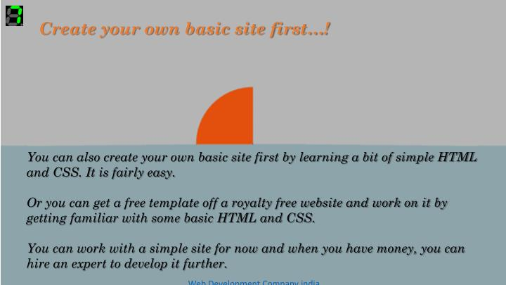 Create your own basic site first…!