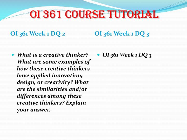 OI 361 Course Tutorial