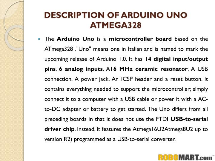Description of arduino uno atmega328