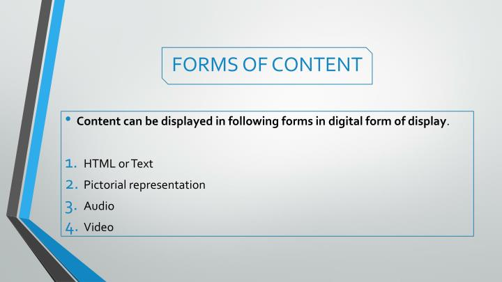 Forms of content