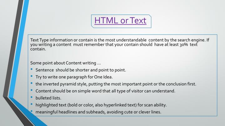 HTML or Text