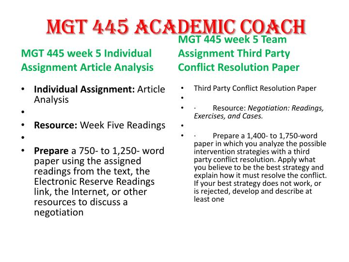 third party conflict resolution paper mgt 445