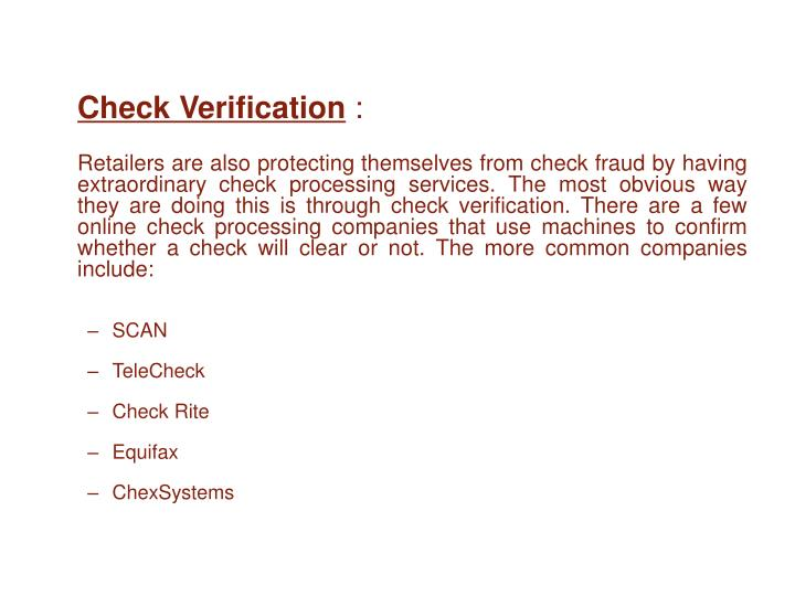 Check Verification