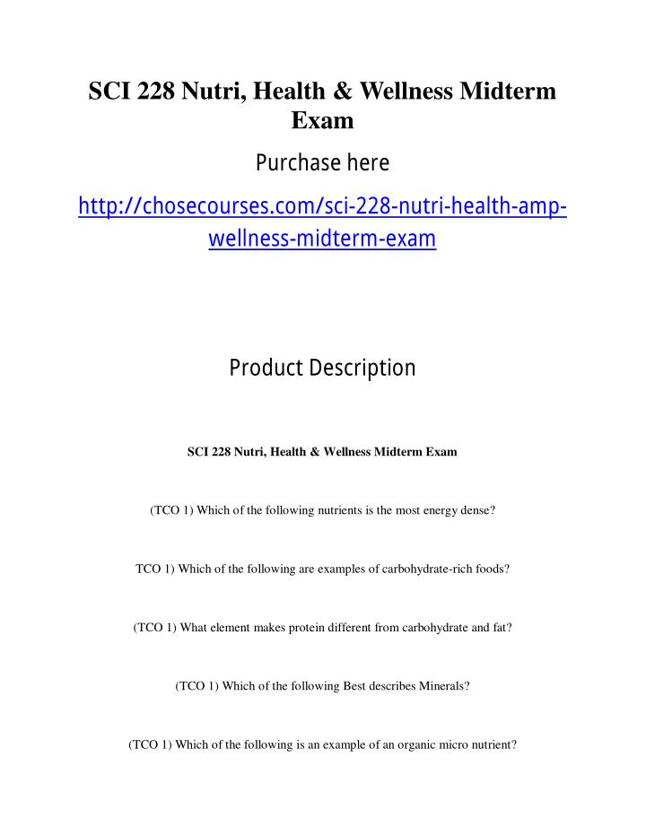 SCI 228 Nutri, Health & Wellness Midterm