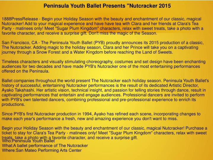 "Peninsula Youth Ballet Presents ""Nutcracker 2015"
