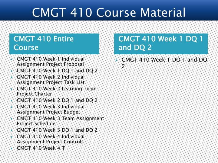 CMGT 410 Entire Course