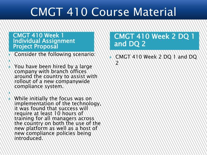 CMGT 410 Week 1 Individual Assignment Project Proposal
