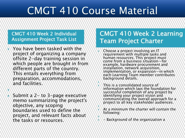 CMGT 410 Week 2 Individual Assignment Project Task List