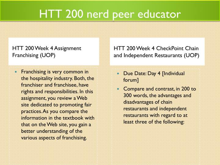 HTT 200 nerd peer educator