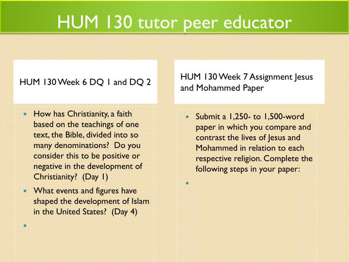 HUM 130 tutor peer educator