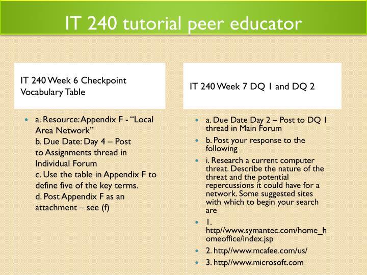 IT 240 tutorial peer educator