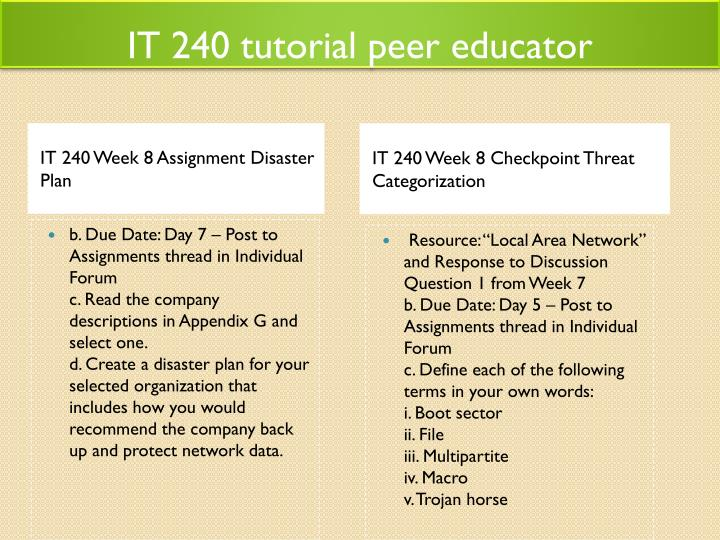 IT 240 tutorial peer educator