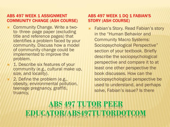 ABS 497 Week 1 Assignment Community Change (Ash Course)