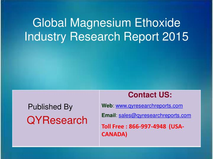 Global Magnesium Ethoxide