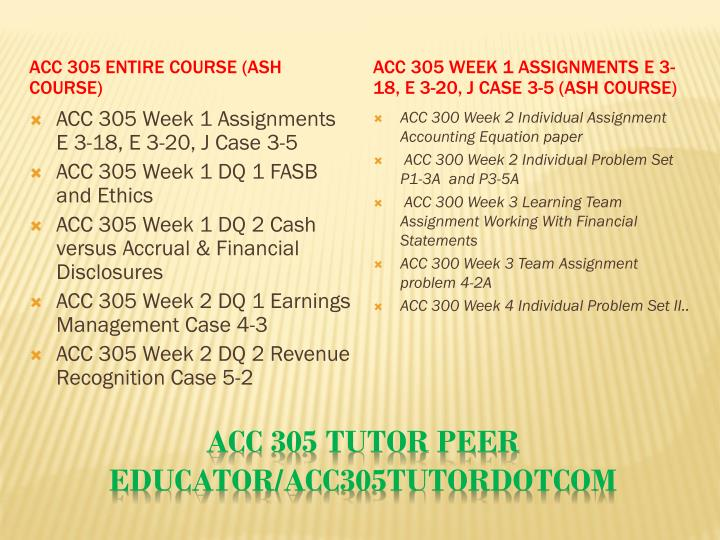 Acc 305 tutor peer educator acc305tutordotcom1