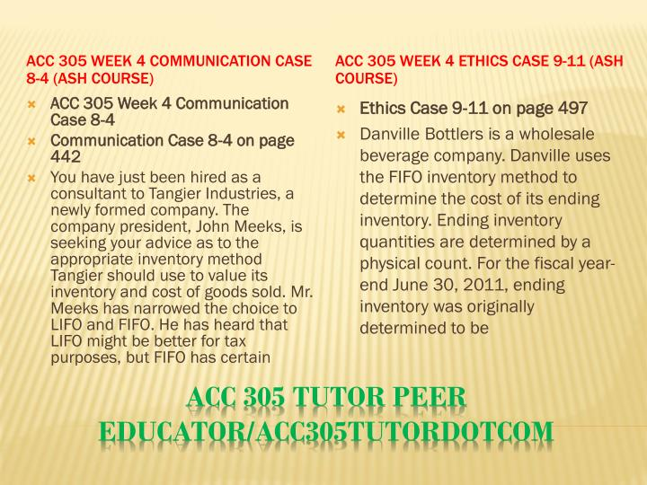 ACC 305 Week 4 Communication Case 8-4 (Ash Course)