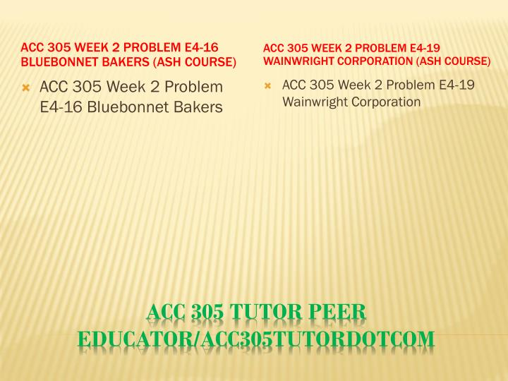 ACC 305 Week 2 Problem E4-16 Bluebonnet Bakers (Ash Course)