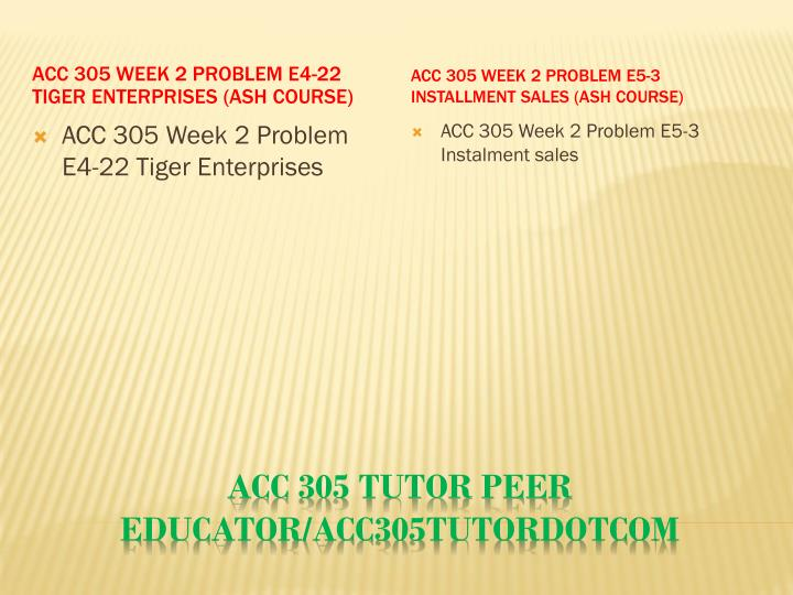 ACC 305 Week 2 Problem E4-22 Tiger Enterprises (Ash Course)