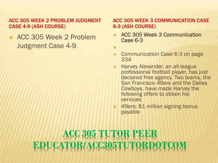 ACC 305 Week 2 Problem Judgment Case 4-9 (Ash Course)