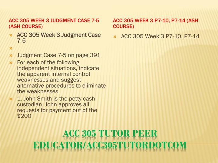 ACC 305 Week 3 Judgment Case 7-5 (Ash Course)