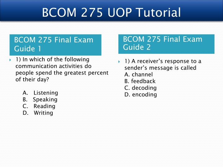 BCOM 275 Business Communications And Critical Thinking Entire Course